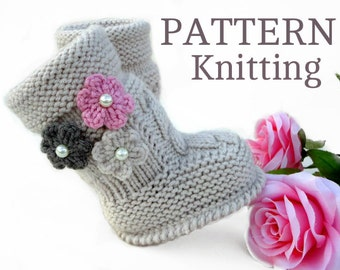 P A T T E R N Baby Booties Baby Girl Shoes Pattern Knitted Baby Booties Pattern Baby Booty Baby Uggs Patterns Baby Boots ( PDF file )