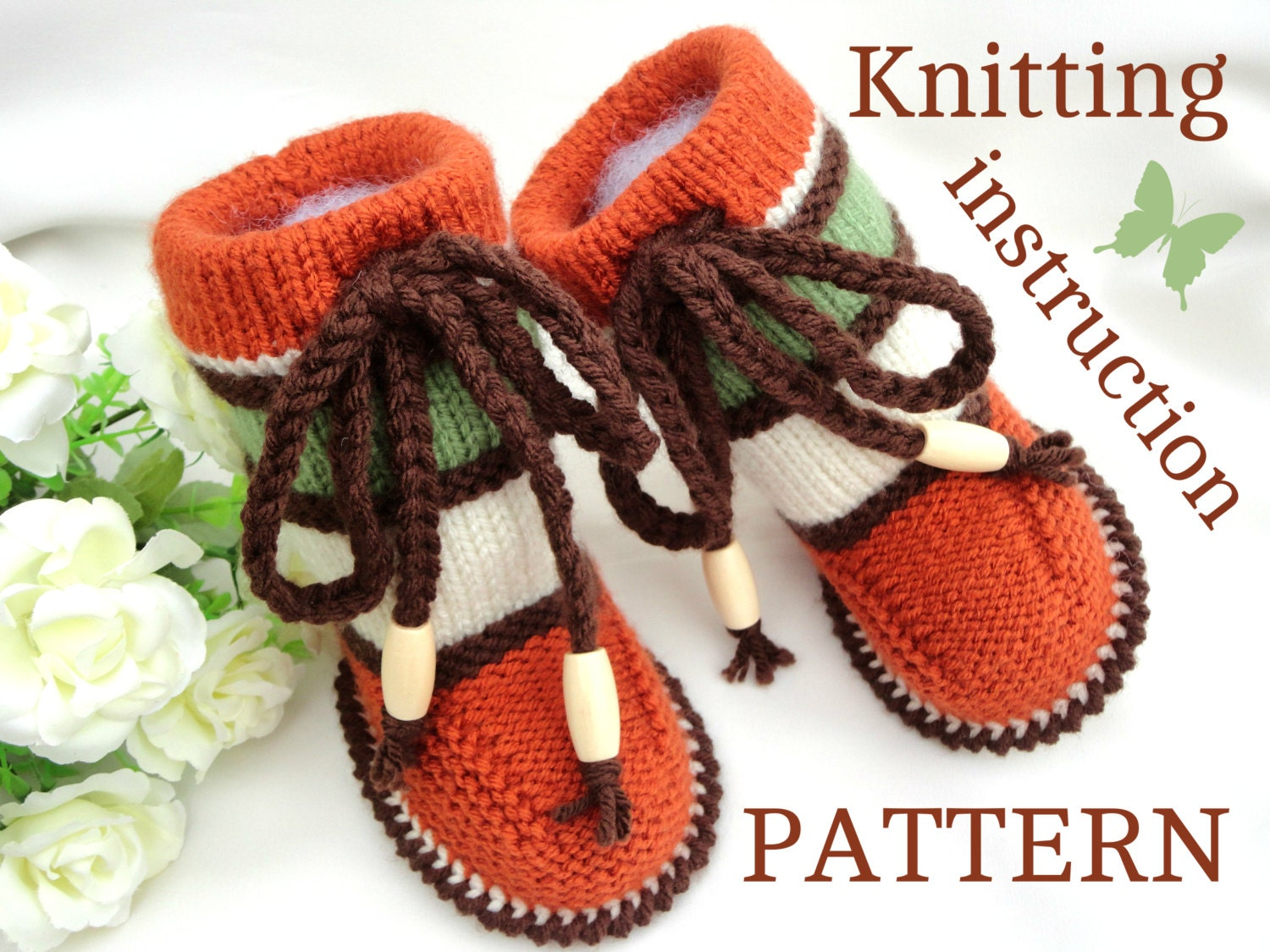 Knitting Shoes Patterns : Knitting pattern baby booties knit shoes boy