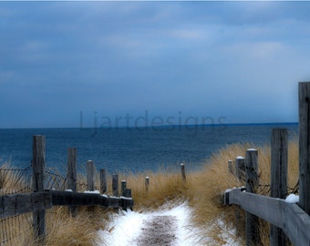Landscape Photography, Cold Lake Path, Lake Superior, Minnesota, Winter Photography, Traditional, 4 x 6, 5 x 7, 8 x 10