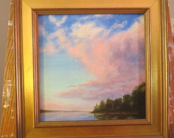 Creamsicle Sky Lake Maranacook Winthrop Maine Summer Moon SUmmer Sunset Original Oil Painting