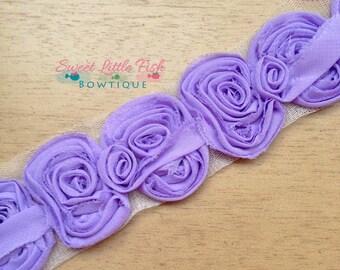Shabby Bow Trim…Small Chiffon Bows…Lavender Bows…DIY…Bows by the yard…Wholesale…Headband…Bows...