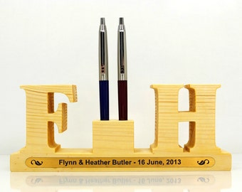 Personalized Wedding Pen Holder with 2 letters (initials) for 2 pens. Great Wedding Gift or Wedding Anniversary Gift. Wedding Accessories.