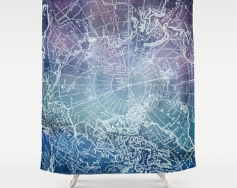 Map Shower Curtain - Purple and blue polar map -  Travel Decor -Home Decor - Bathroom - maps, waderlust,  indigo, blue, purple