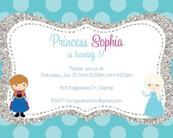 Frozen Elsa and Anna Invitation
