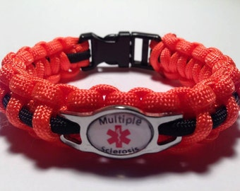 Multiple Sclerosis Bracelet - Orange & Black