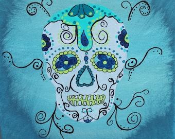 Giclee PRINT 5x5 Sugar Skull Day of the Dead Mexican Painting Acrylic Art Dia de los Muertos Wall Art Hispanic Holiday Greeting Card