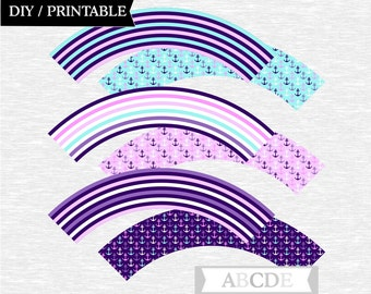 Instant Download Purple and Aqua Cupcake wrappers Nautical Baby Shower Birthday Party DIY Printable (PDNM001)