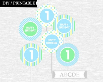 Instant Download Cupcake Toppers Birthday decorations Polka Dots 1st Birthday party toppers DIY Printable (PDMD037)