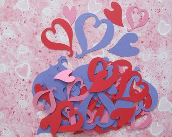 50 Heart Cut-outs in a Variety of Shapes, Sizes and Colours of Cardstock