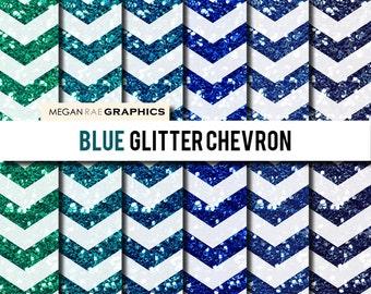 Digital Paper - 8x8 BLUE CHEVRON GLITTER digital paper pack (Blue chevron glitter high resolution papers)