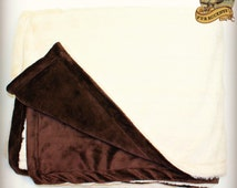 FUR ACCENTS Minky Cuddle Fur Throw Blanket / Reversible / Ivory Off White and Chocolate Brown