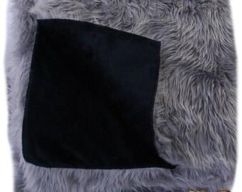 FUR ACCENTS Fan Fur Faux Fur Bedspread / Comforter /  Gray with Black Minky Lining
