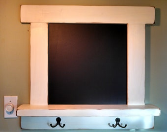 Chalkboard Wood Shelf Coat Rack - Vintage - Country Cottage Chic