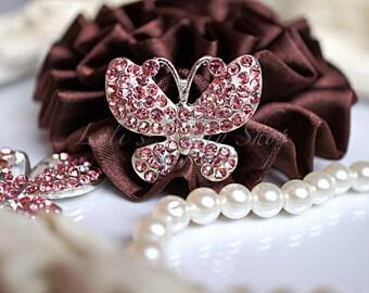 Butterfly Rhinestone Button - Pink Rhinestone Embellishments - Flatback Rhinestone Buttons - Butterfly Shape Metal Embellishment Flat back