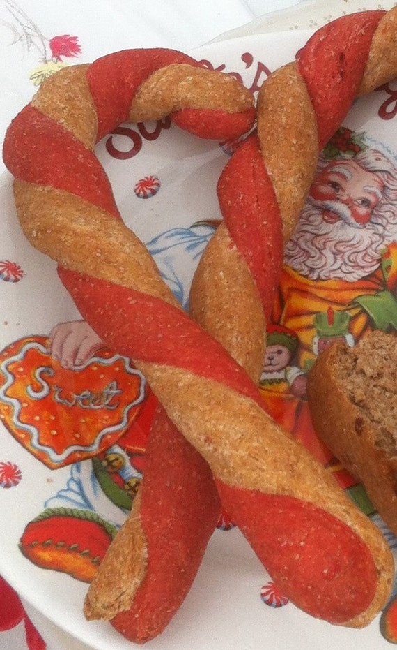 Christmas Dog Treat - Candy Cane Pretzels - Candy Cane Treat - All Natural Dog Biscuits - Holiday - Gourmet Dog Cookie - Made to Order