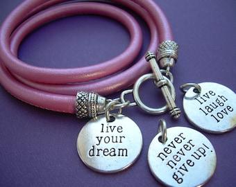 Stitched Nappa Triple Wrap Leather  Bracelet with Inspirational Charm, Womens Bracelet, Womens Jewelry,Leather Bracelet