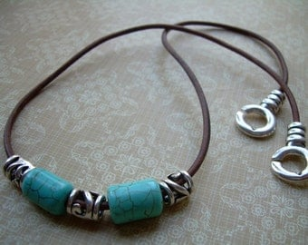 Turquoise and Tibetan Silver Beaded Leather Necklace, Leather Necklace, Mens Jewelry, Womens Jewelry, Mens Necklace, Womens Necklace