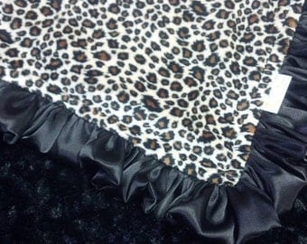 FREE SHIPPING Personalized Baby Blanket with Leopard Jaguar  Minky.  You choose colors, minky or satin back