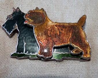 Two little Scottie Dogs - Vintage Brooch