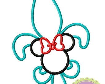Ms Mouse Fleur de Lis Machine Embroidery Applique Design