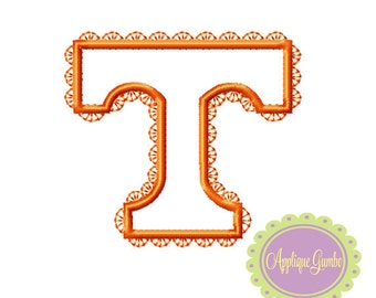 Girly Tennessee Vols T Machine Embroidery Applique Design