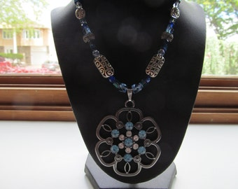 Flower pendant necklace,multi blues and crystal flower necklace,glass beaded necklace , statement necklace