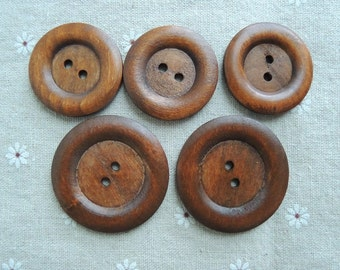 10pcs  40mm Brown Coffee Wood button 2  holes( W705)