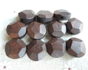 50 Pcs  15mm Round Facted Wood Bead Unfinished  Round Wooden Beads  (W856)