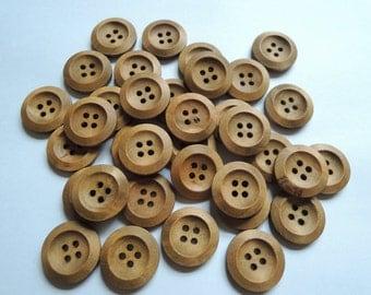 50Pcs  20mm Light Brown Wood button 4 holes( W857-2)
