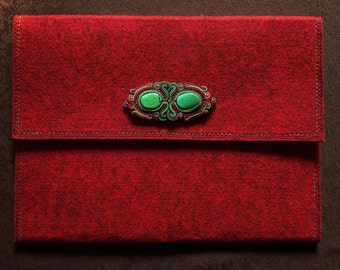 Elegant Business Felt Briefcase with Soutache