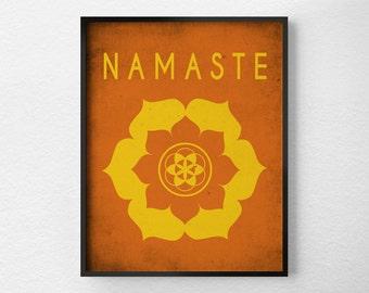 Namaste Lotus,Yoga Print, Yoga Studio Decor, Typography Poster, Wall Art, Inspirational Print, Yoga Poster, Motivational Art, 0163