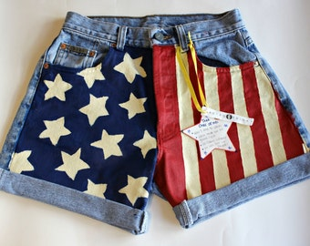 Custom Size / American Flag High Waisted Shorts / Painted / USA Shorts / Patriotic Clothing / Made to Order
