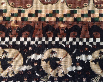 SALE - Half Yard Piece of Halloween Upholstery Stripe