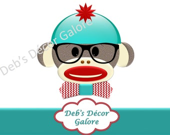 Smart Boy Sock Monkey - Birthday Party Decorations with Glasses