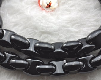 Black Onyx smooth axe chain beads 8x8mm,15 inches