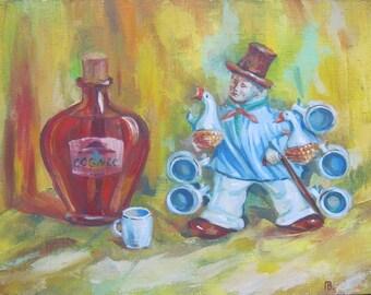 The Cheerful Goose Farmer - Art Oil Still Life Painting