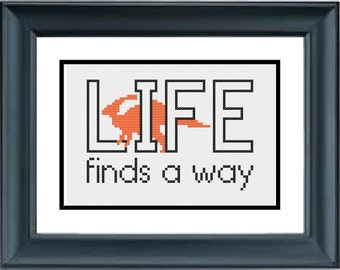 Life Finds A Way - Jurassic Park - Dinosaur - PDF Cross-Stitch Pattern