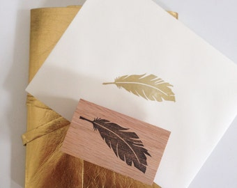 Feather Stamp- Hand Carved