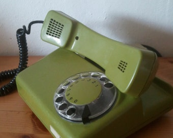 Green Color  Vintage Retro Rotary Dial Telephone