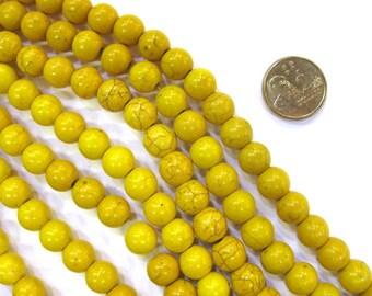 8mm Round Yellow Coloured  Howlite Stone Strand