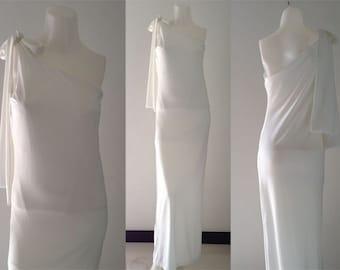 White One shoulder sun beach Long maxi dress all size