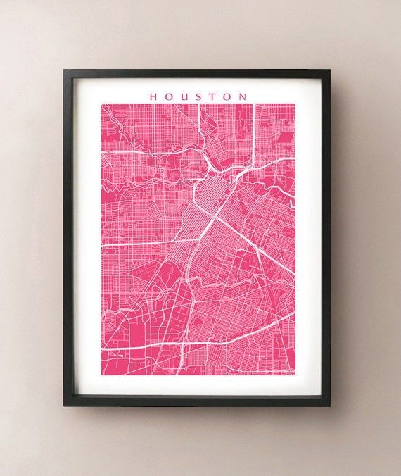 Houston Map Print Texas Poster by CartoCreative