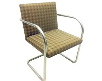 Knoll Brno Tubular Side Chairs in Earth Tone Diamond