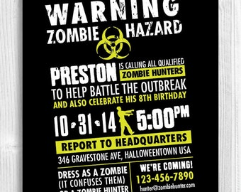 Zombie Hunter Invitation - halloween party, birthday, costume, undead, infected, outbreak