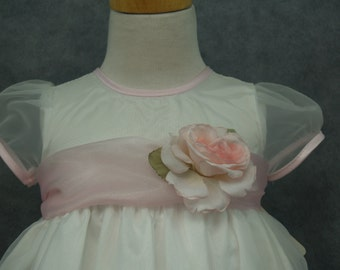 Organza Embroidered Dress 18M Pink White