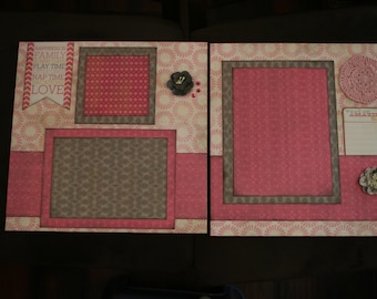 Pre-made double 12x12 scrapbook pages