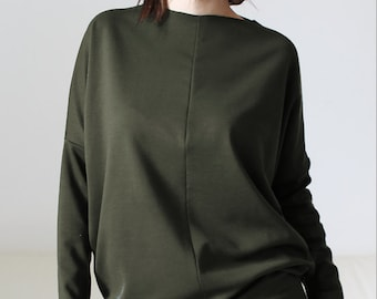 Green long sleeve sweatshirt tunic