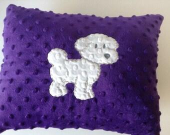 Bichon Frise pillow, Purple pillow with white Bichon Frise applique, Minky pillow,Embroidered  pillow, decor pillow, Ready to ship