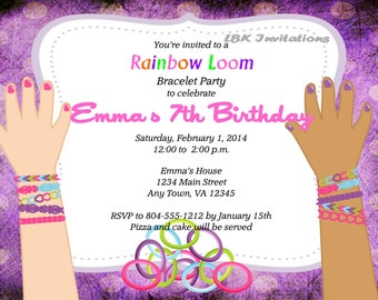 Custom Rainbow Loom Birthday Party Invitation