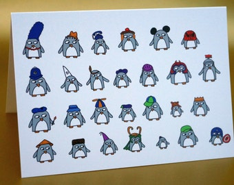 Funny Penguin Card -  Birthday - penguins with hats -blank - any ocassion